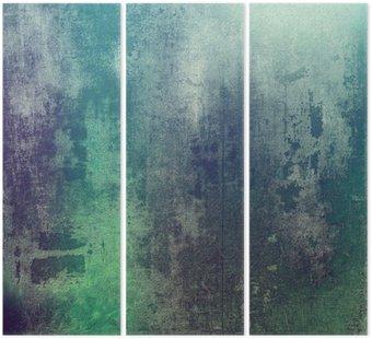 Tryptyk Stare tekstury jako abstrakcyjne grunge. Z różnych wzorach kolorystycznych: zielony; purple (fioletowy); szary; cyan