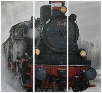 Tryptyk Stary parowóz w śniegu