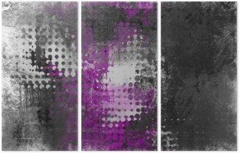 Tryptyk Streszczenie grunge z szarym, białym i fioletowym