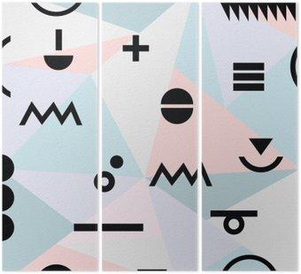 Tryptyk Streszczenie minimalny geometryczny nowoczesny wzór tła materiału i czarne symbole