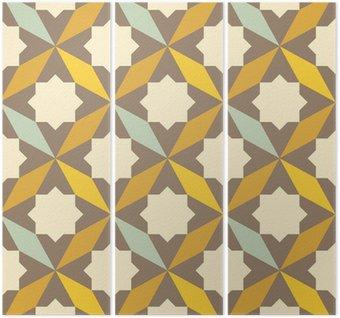 Tryptyk Streszczenie retro geometryczny wzór