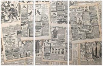 Tryptyk Strony gazet z antykami ogłoszenia