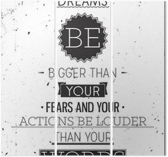 Tryptyk Styl grunge motywacyjny plakat z typografii