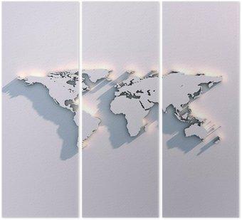 Tryptyk Światowa mapa rzeźby na ścianie