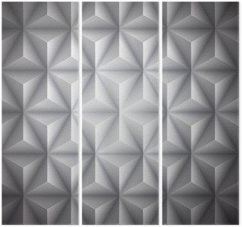 Tryptyk Szary Geometria abstrakcyjne low-poly tło papieru. Wektor