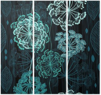 Tryptyk Szwu z abstrakcyjne kwiaty. ręcznie rysowane kwiatów backgrou