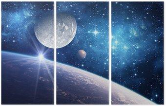 Tło z planety, księżyc i gwiazdy