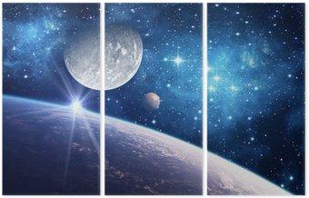 Tryptyk Tło z planety, księżyc i gwiazdy