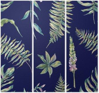 Tryptyk Tropical akwarela liści bez szwu wzór