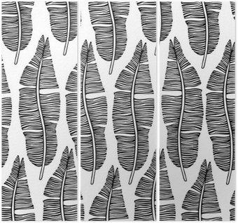 Tryptyk Tropical modne szwu z egzotycznych liści palmowych.