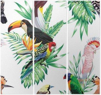Tryptyk Tropikalnych ptaków i liści palmowych wzór