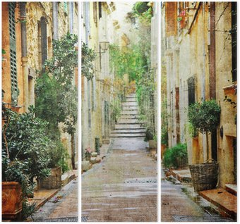 Tryptyk Urokliwe uliczki śródziemnomorskich, artystyczny obraz