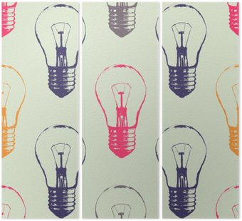 Tryptyk Vector grunge szwu z żarówek. Nowoczesne hipster stylu szkic. Idea i koncepcja twórcze myślenie.