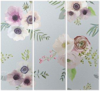 Tryptyk Vintage Floral Tło - bez szwu - w wektorze