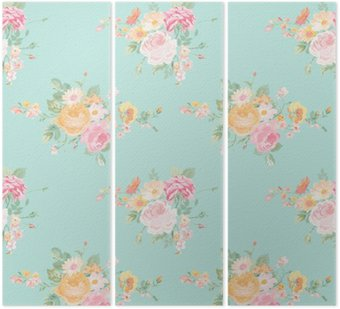 Tryptyk Vintage Flowers Background - Seamless Floral Shabby Chic Wzór