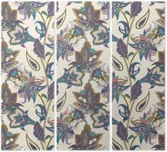 Tryptyk Vintage kwiatów i Paisley bez szwu wzór, orientalne tle