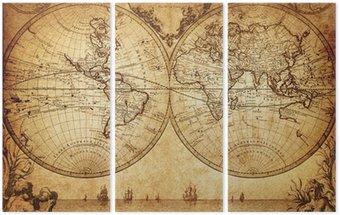 Tryptyk Vintage, mapa świata 1733