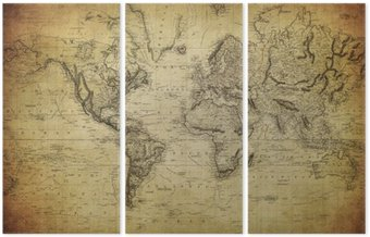 Tryptyk Vintage, mapa świata 1814 ..