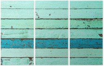 Tryptyk Vintage niebieskie tło drewna