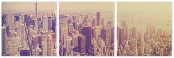 Tryptyk Vintage stonowanych Manhattan Skyline o zachodzie słońca, NYC, USA.