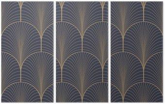 Tryptyk Vintage tan niebieski i brązowy w stylu art deco szwu wektor wzór tapety