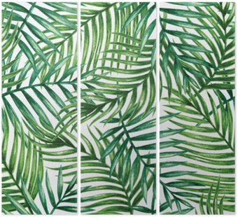 Tryptyk Watercolor tropical palm leaves seamless pattern. Vector illustration.