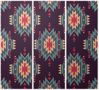 Tryptyk Wektor bez szwu etnicznych dekoracyjny wzór. Amerykańskie motywy Indyjskim. Tło z aztec tribal ozdoba.