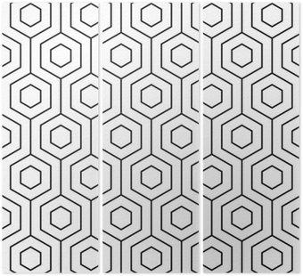 Tryptyk Wektor bez szwu. Nowoczesny, stylowy tekstury. Monochromatyczny geometryczny wzór. Kratka z sześciokątnych płytek.