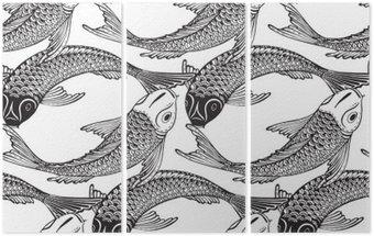 Tryptyk Wektor bez szwu wzór z ręcznie rysowane Koi ryb