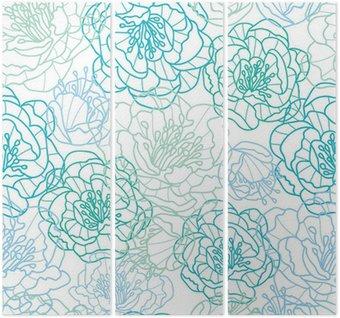 Tryptyk Wektor niebieskie kwiaty line art elegancki bezszwowe tło wzór