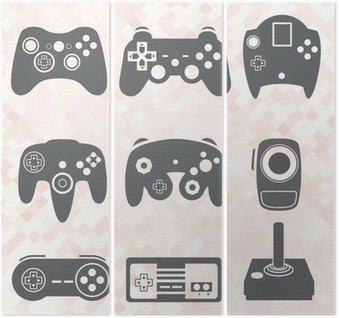 Tryptyk Wektorowa zestaw: Kontroler gier wideo sylwetki