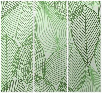 Tryptyk Wiosną zielone liście szwu wzór