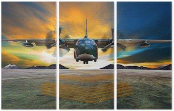 Tryptyk Wojskowy samolot do lądowania na drogach startowych lotnictwo przeciwko pięknej dus