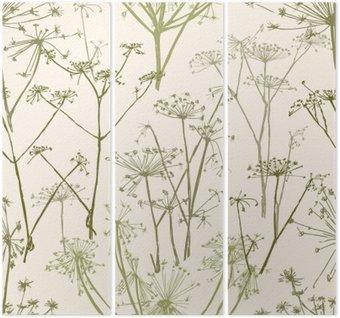 Tryptyk Wzór kwiatów parasolowe
