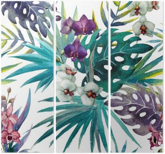 Tryptyk Wzór liści hibiskusa orchidei tropików akwarela