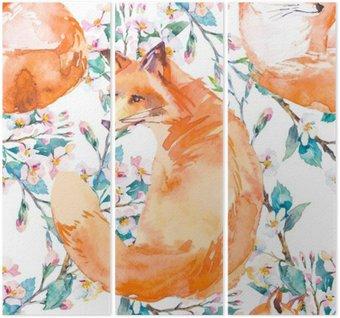 Tryptyk Wzór w naturalnym środowisku. Fox i gałęzi kwitnących. ,