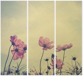 Tryptyk Zabytkowe kosmos kwiaty w czasie zachodu słońca
