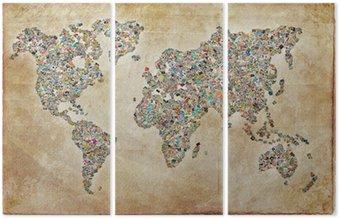 Tryptyk Zdjęcia mapę, zabytkowe tekstury