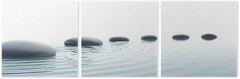 Tryptyk Zen ścieżka z kamieni w formacie panoramicznym