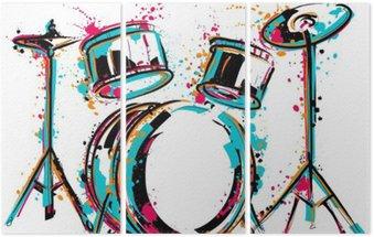 Tryptyk Zestaw perkusyjny z odpryskami w stylu akwareli. Kolorowe ręcznie rysowane ilustracji wektorowych