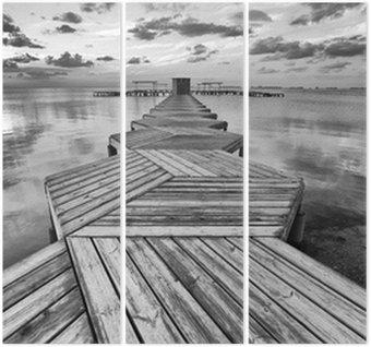 Tryptyk Zig Zag dock w czerni i bieli