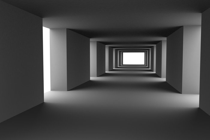 Tunnel with changing light and dark stripes. Hi-res 3d.