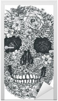 Türaufkleber Blumen-Schädel-Vektor