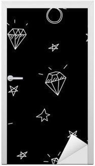 Türaufkleber Vektor nahtlose Muster mit Hochzeitsringen, Stars und Juwelen. Old school Tattoo-Elemente. Hipster-Stil