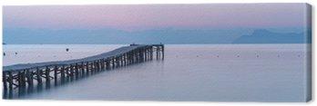 Tuval Baskı Bir iskele ile sahilde gün batımı