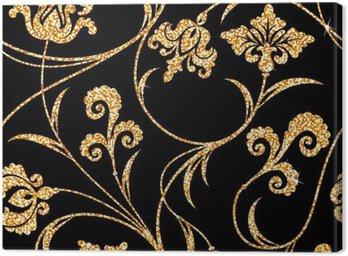Tuval Baskı Çiçek altın duvar kağıdı