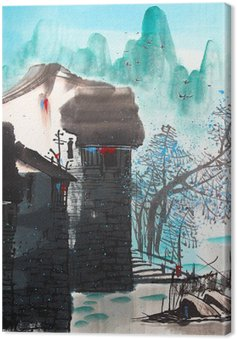 Tuval Baskı Çin çizim su şehir