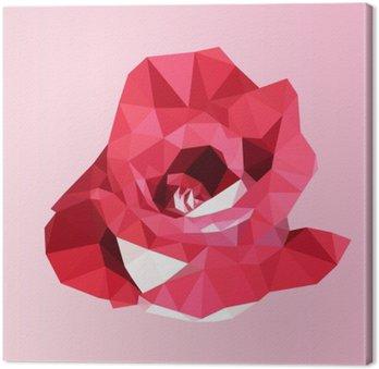 Tuval Baskı Çokgen kırmızı gül. poli düşük geometrik üçgen çiçek vektör