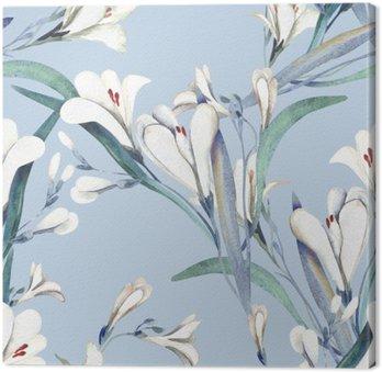 Tuval Baskı Crocosmia Çiçek ile Dikişsiz Desen