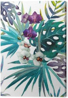 Tuval Baskı Desen orkide ebegümeci suluboya tropik yaprakları